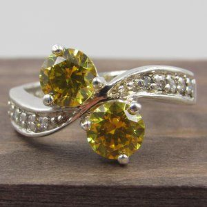 Size 8.25 Sterling Silver Brilliant Yellow CZ Ring